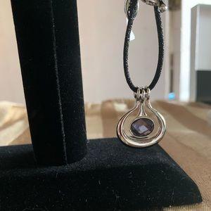 NIB Lia Sophia Lilac Necklace Silver Tone